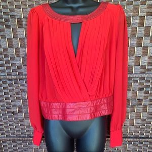 Red long sleeve lace red shirt / blouse